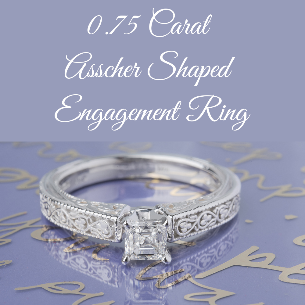 0.75 Carat Asscher Shaped Engagement Ring
