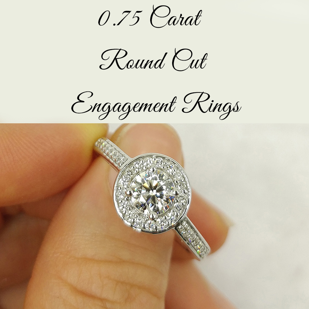 0.75 Carat Round Cut Engagement Rings