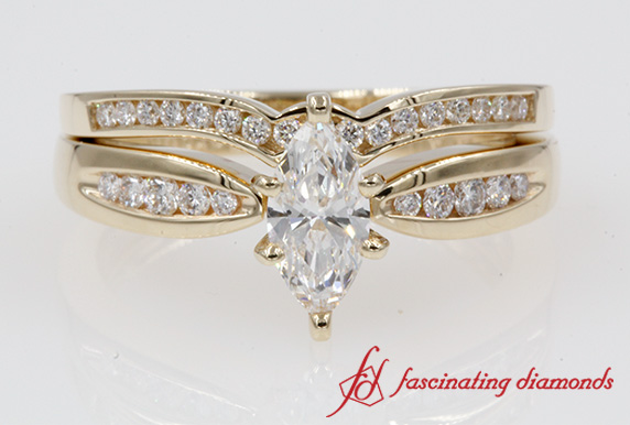 Reverse Taper Channel Diamond Wedding Ring Set In 14K Yellow Gold