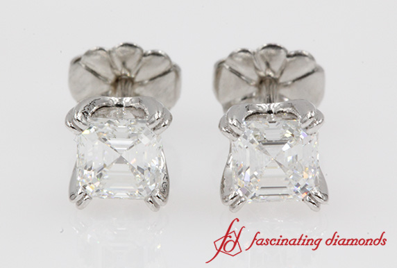 Asscher Cut Diamond Stud Earring