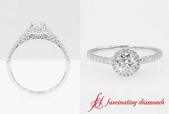 Pave Halo Filigree Diamond Ring