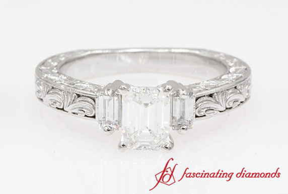 1.12 Ct. Vintage With Baguette Ring