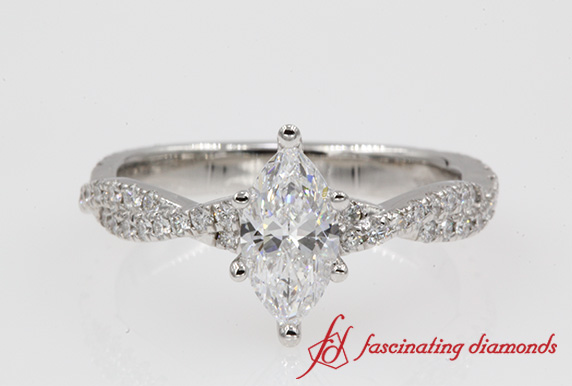 Twisted Vine Marquise Diamond Ring