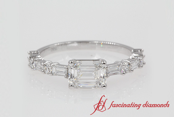 East West Wedding Diamond Ring
