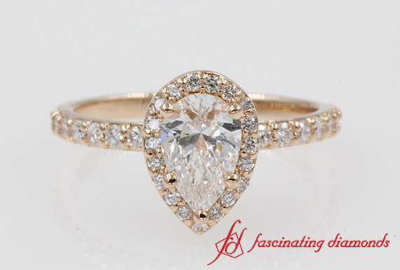 1.32 Ct. Diamond Studded Prong Halo Ring In 18K Rose Gold