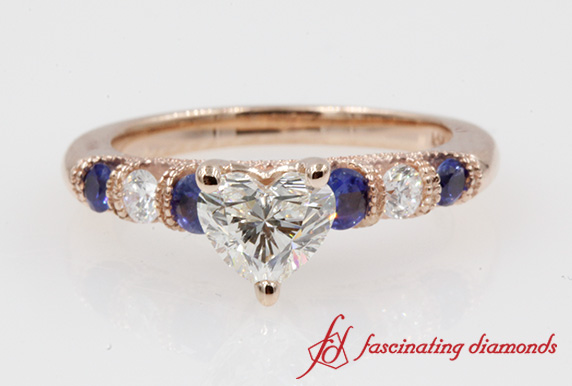 Bar Set Blue Sapphire Ring In Rose Gold