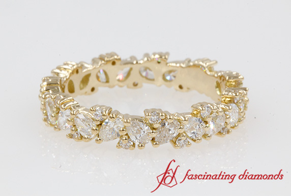 Gold Pear Eternity Band