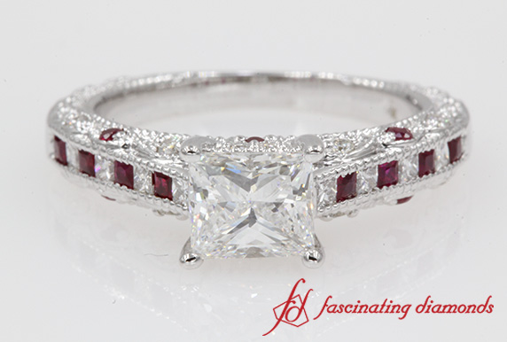 1.65 Carat Diamond Antique Engagement Ring With Ruby In 14K White Gold