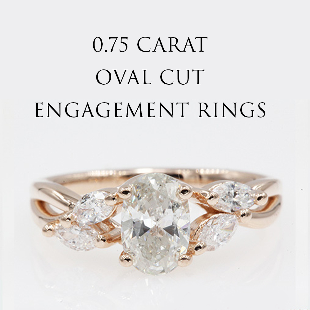 0.75 Carat Oval Shaped Engagement Ring