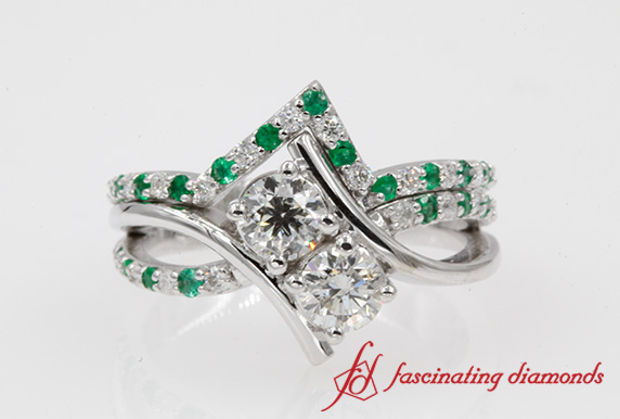 Diamond & Emerald 2 Stone Ring Set