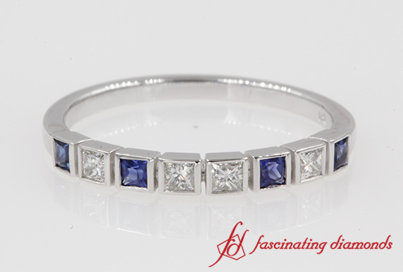 Bezel Diamond Wedding Sapphire Band