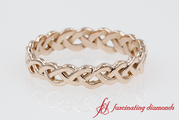 Womens Braided Eternity Wedding Band