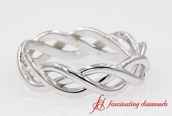 Braided White Gold Wedding Band