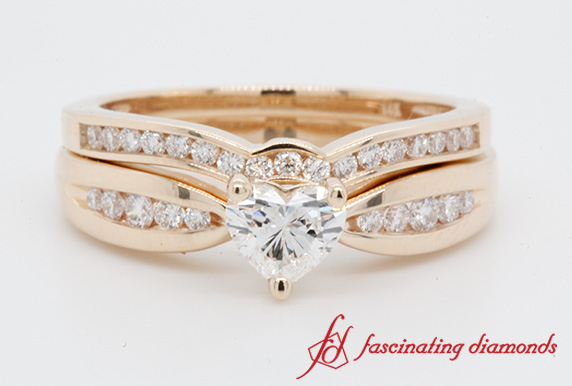 Channel Diamond Bow Wedding Set In Yellow Gold-FDENS3113