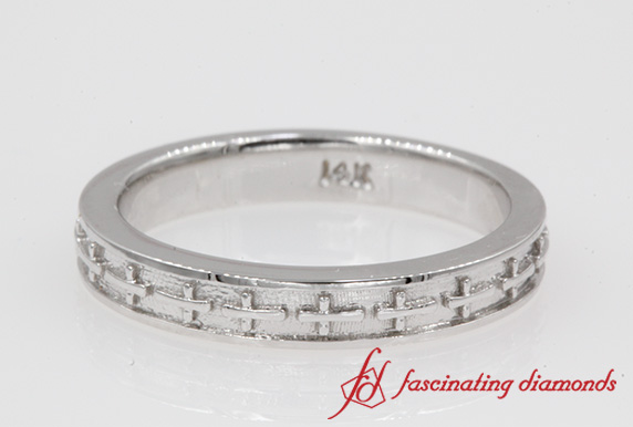 Cross Design Mens Band In White Gold