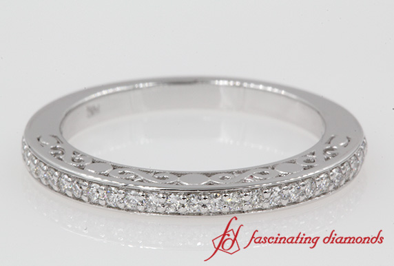 Filigree Diamond Wedding Band