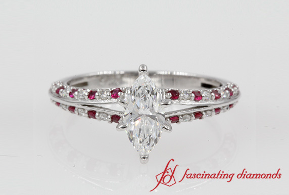 Marquise Cut Delicate Split Ruby Ring