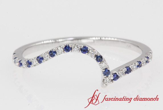 Diamond Swirl Band With Sapphire