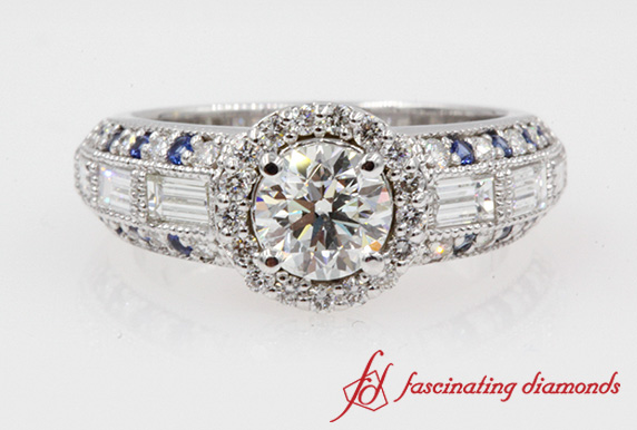 1.60 Carat Diamond Halo Vintage Engagement Ring