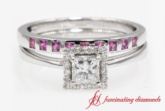 0.75 Carat Diamond Square Halo Bridal Ring Set