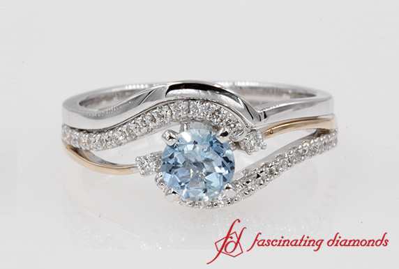 Aquamarine Swirl Diamond Bridal Ring Set