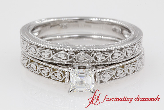 Filigree Vintage Wedding Ring Set