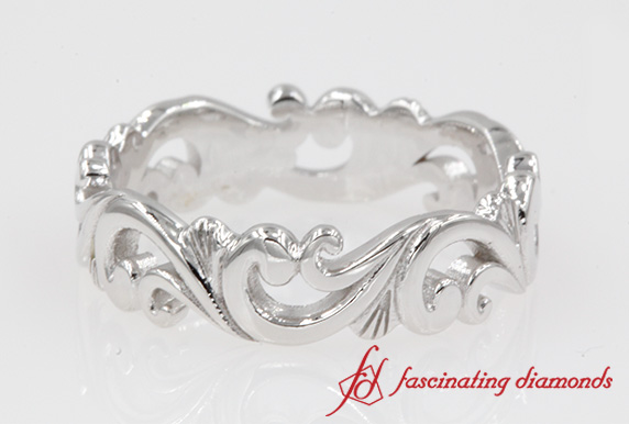 18K White Gold Filigree Band