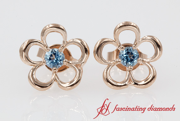 Blue Topaz Daisy Flower Stud Earring 14K Rose Gold