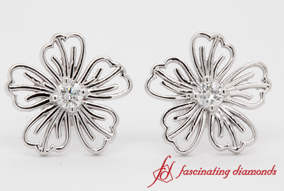 Diamond Hibiscus Stud Earring