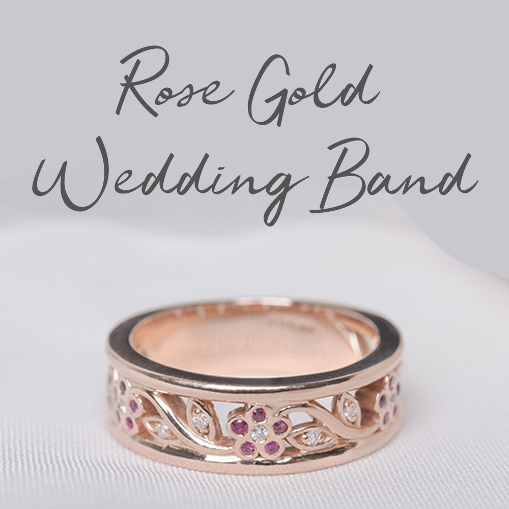 6mm Round Halo Rose Gold Wedding Set  Curved Design Half Eternity Side Band  Engagement Anniversary Rings Set  2 Pieces Matching Ring
