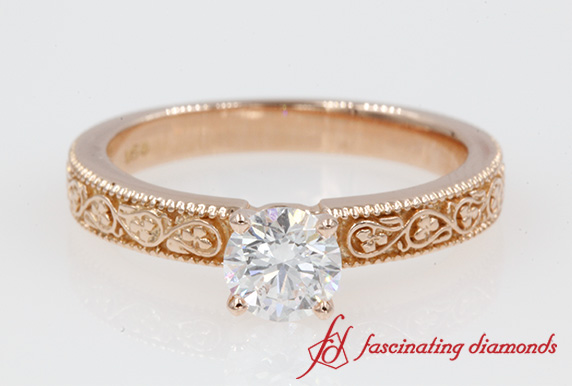 Filigree Solitaire Ring In 18K Rose Gold