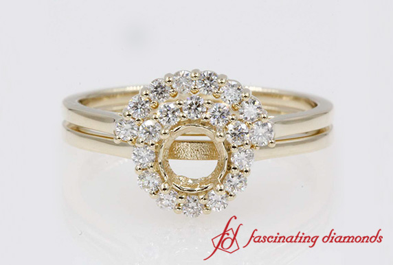 Semi Mount Floral Wedding Ring Set