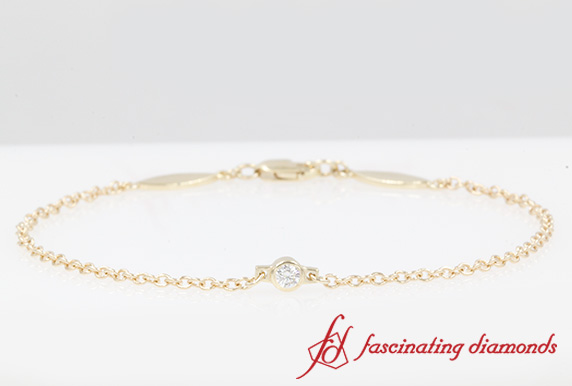 Bezel Set Single Diamond Bracelet In 14K Yellow Gold