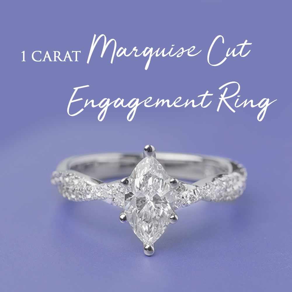 1 Carat Marquise Cut Engagement Ring
