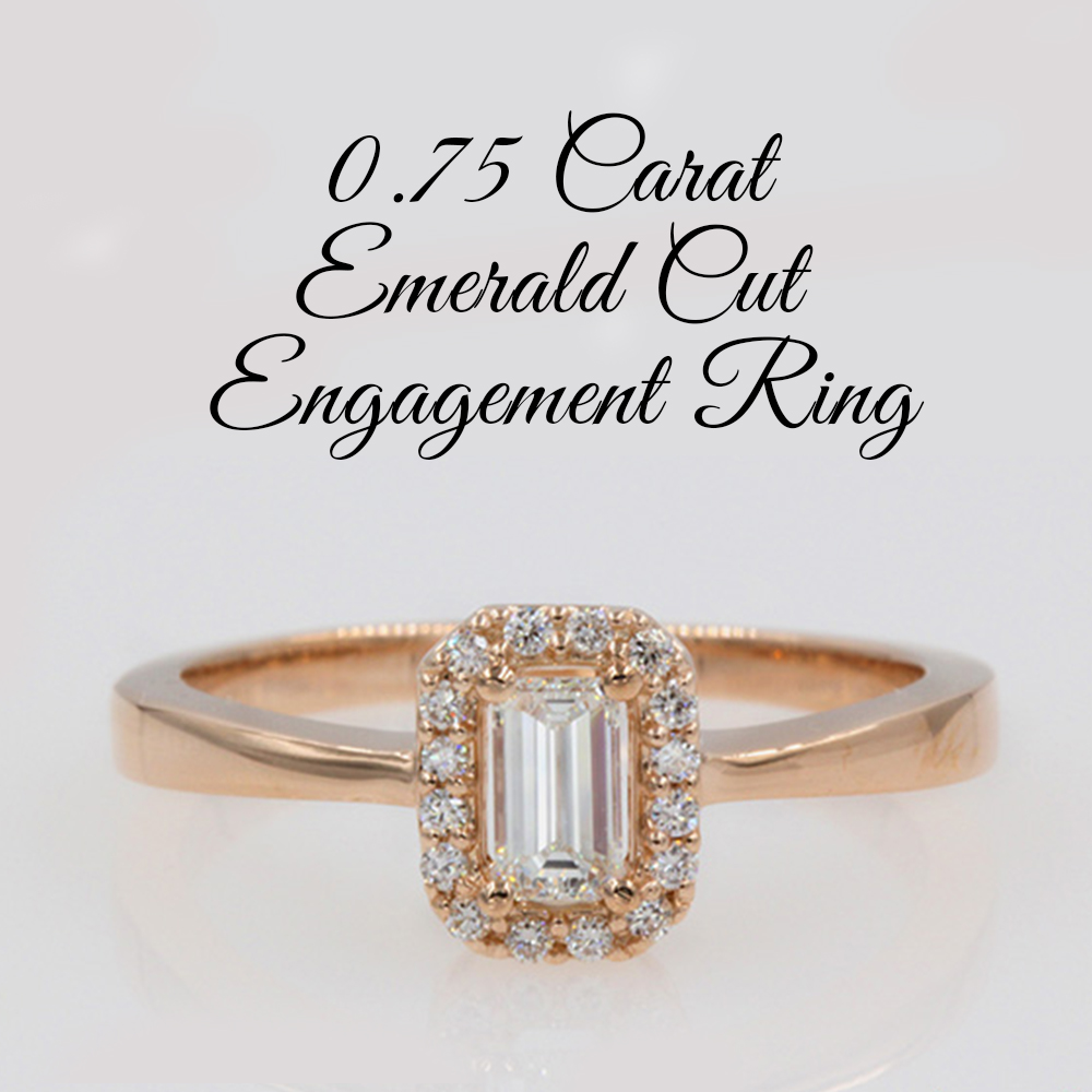 0.75 Carat Emerald Cut Engagement Ring