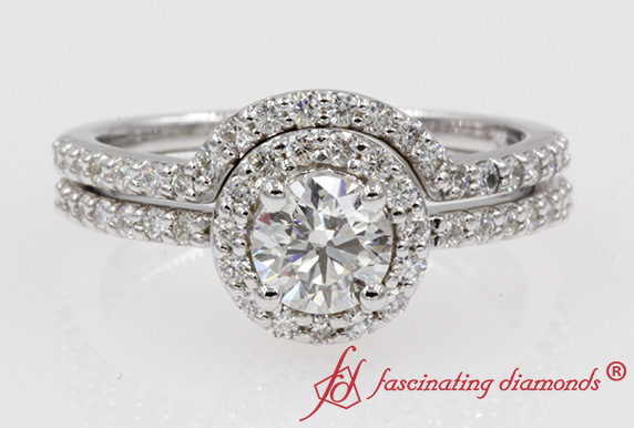 Halo Ring With Diamond Curved Band