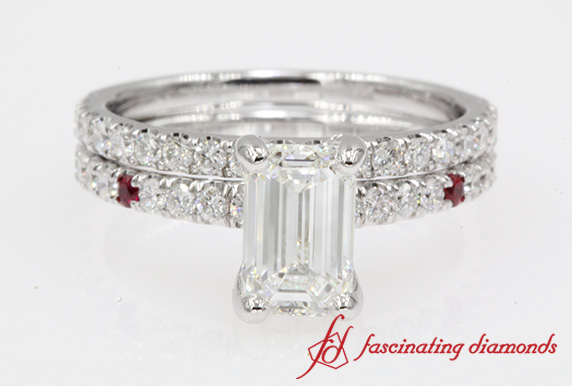 Petite Emerald Cut Diamond Ring Set