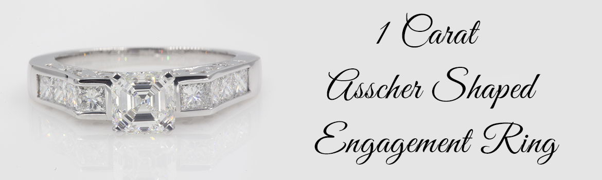 1 Carat Asscher Shaped Engagement Ring