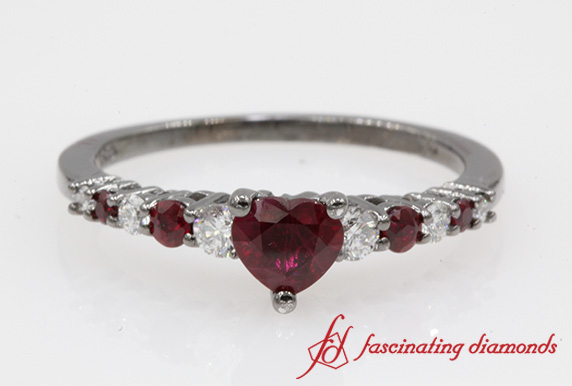 Graduated Heart Ruby Engagement Ring