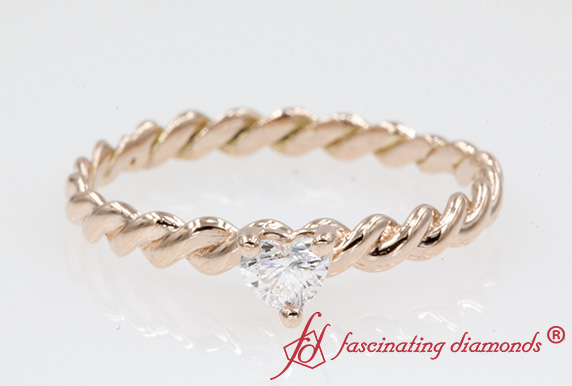 Heart Solitaire Braided Ring