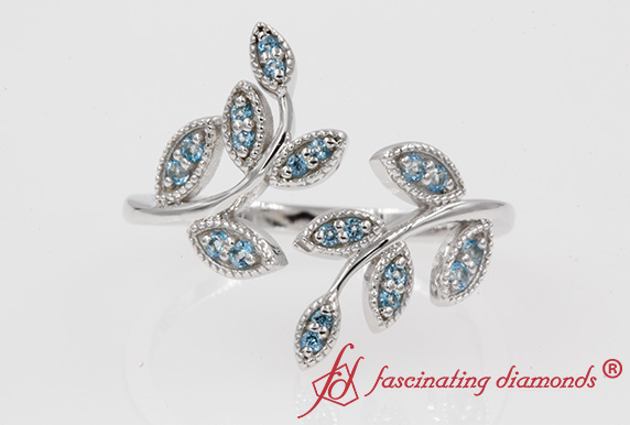 Open Leaf Blue Topaz Ring In White Gold