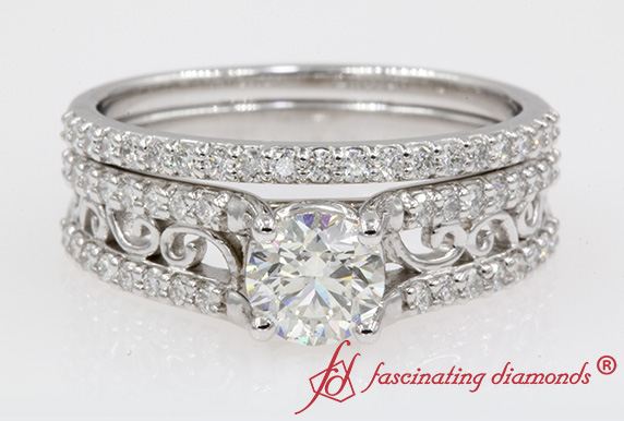 2 Row Filigree Engagement And Wedding Ring