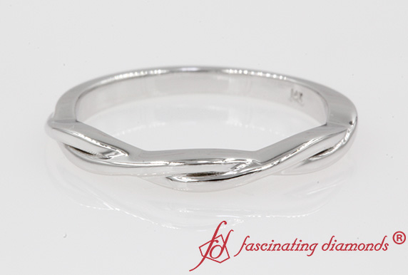 Thin White Gold Twisted Wedding Band