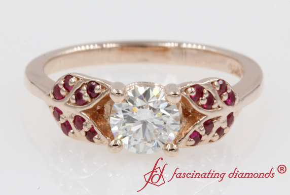 Diamond And Ruby Vintage Leaf Ring