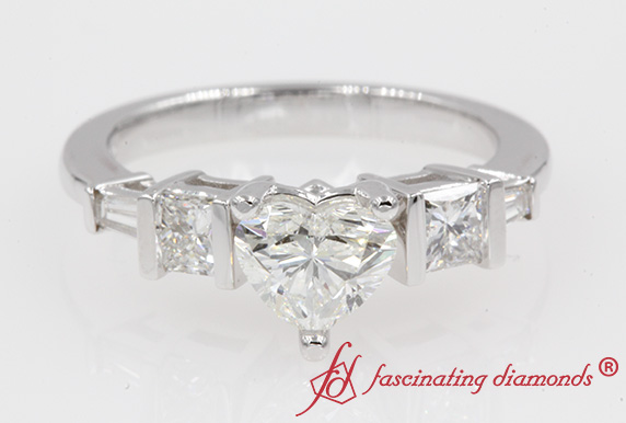 Heart Diamond Ring In White Gold