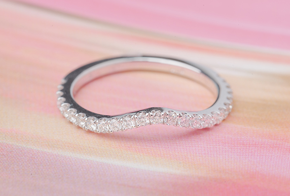 Diamond Curved White Gold Band