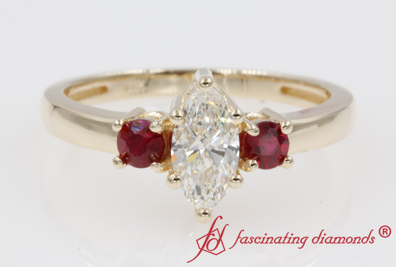 Marquise 3 Stone Basket Engagement Ring