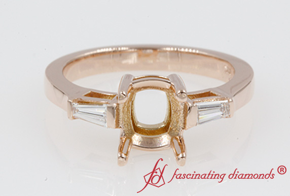 Semi Mount Baguette 3 Stone Ring