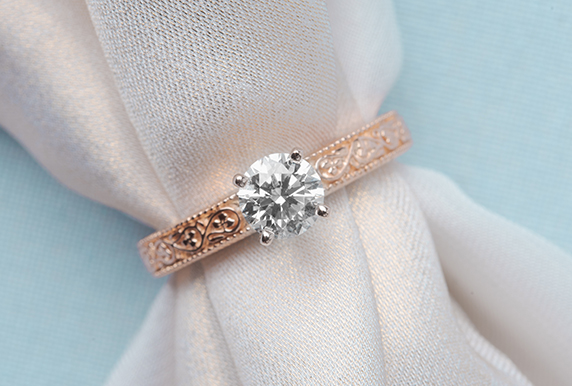 Round Cut Filigree Solitaire Ring