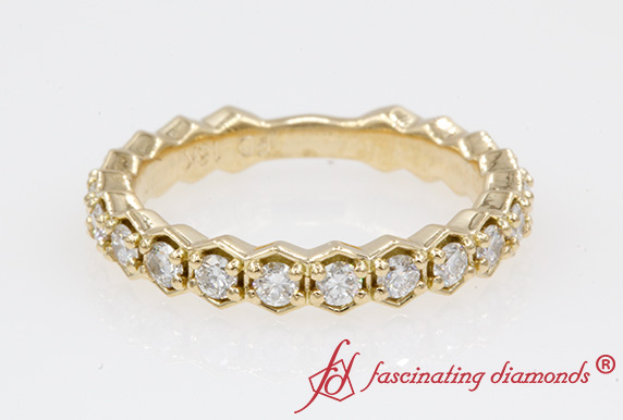 0.70 Ct. Diamond Hexagon Band